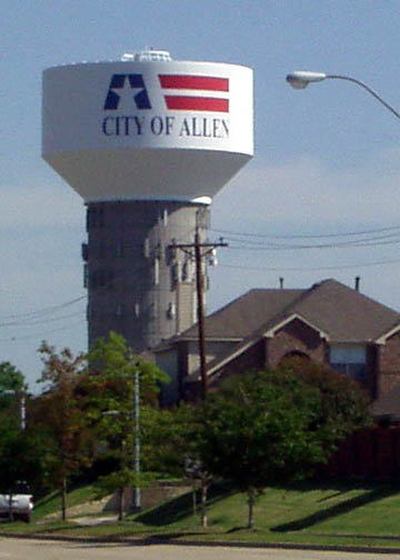 Allen, TX: Water Tower viewed from Custer Street