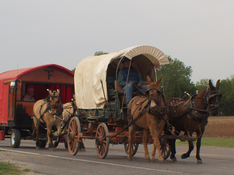 Lexington, OK : Oklahoma Land Run Wagon Train, leaving Lexington, north on Hwy 77