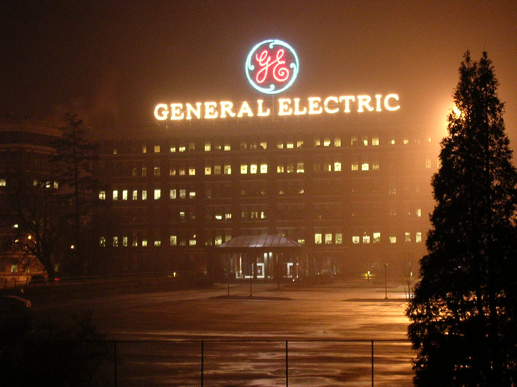 Schenectady, NY : GE Plant with Logo Sign on top of Building
