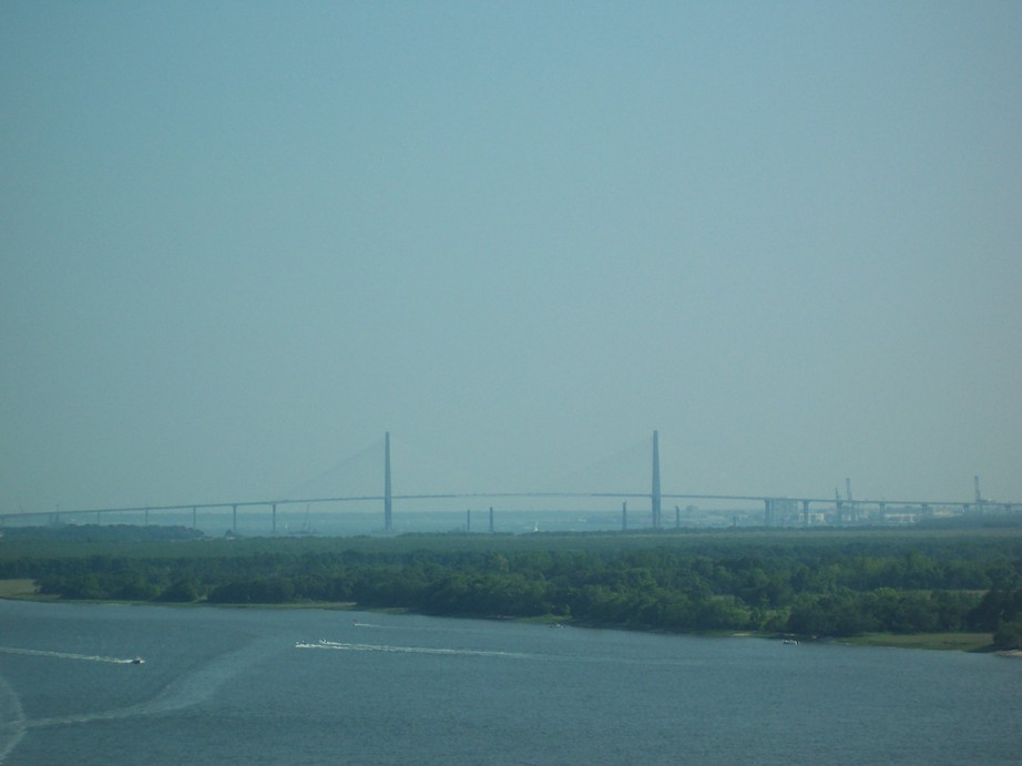 Charleston, SC : Charleston Port, and Ravenel Bridge, from I-526