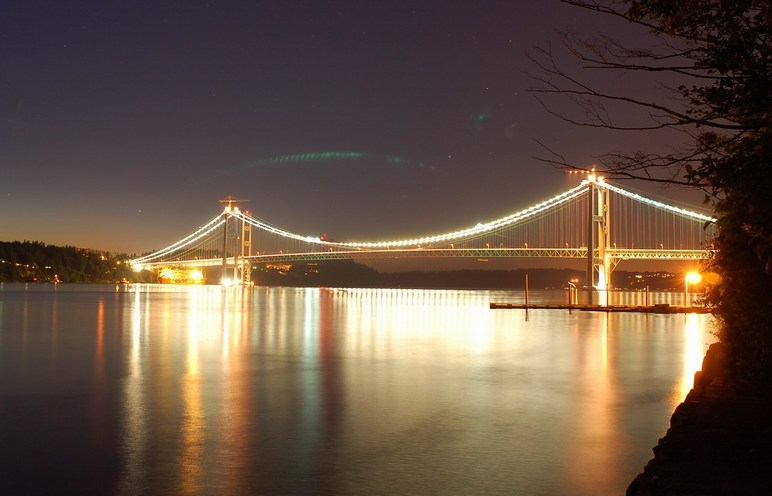 Tacoma, WA : The Tacoma Narrows bridge project at night looking from Titlow Park - June 2006