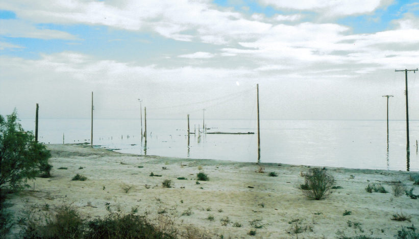 Bombay Beach, CA : Waterfront fron levy at 5th st and Ave.G