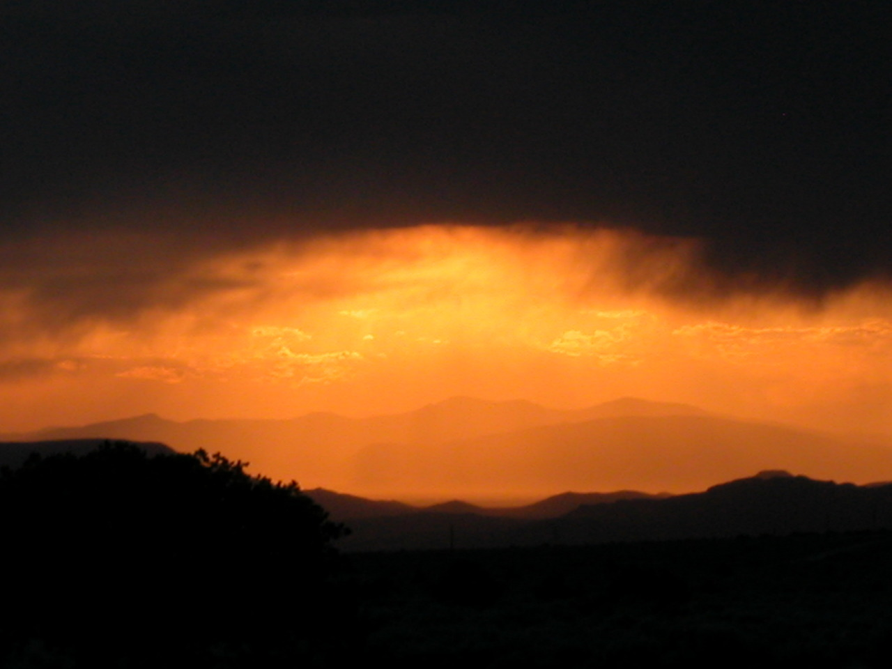 San Luis, CO : Sunset and Rain in the San Luis Valley from Wild Horse Mesa, San Luis