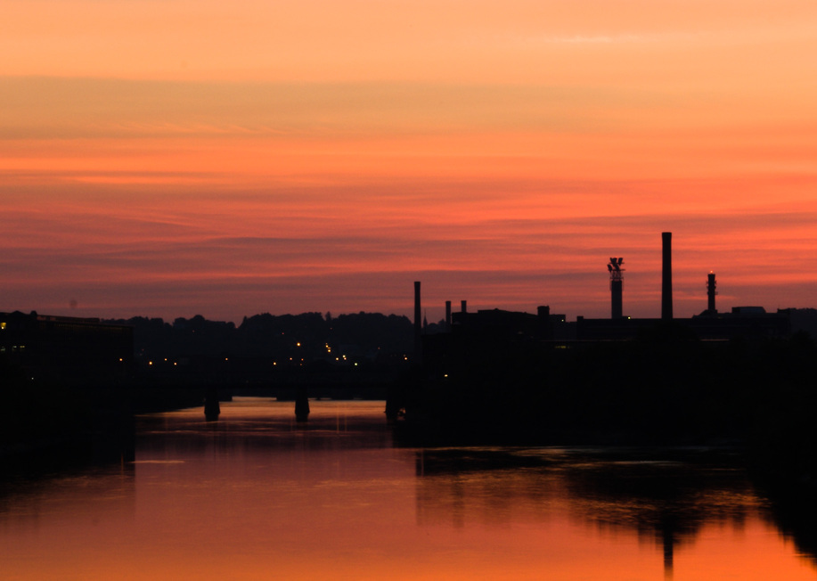 Lawrence, MA : Sunset over the Merrimack river.