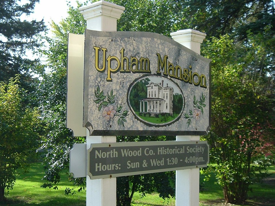 Marshfield, WI: Sign At The Upham Mansion In Marshfield, WI.