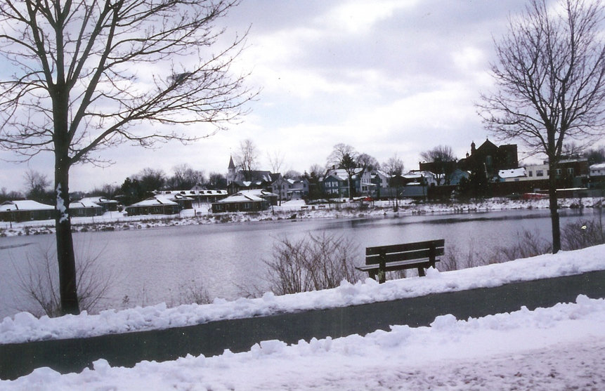 Thompsonville, CT : This is a view of across the Freshwater pond on a winter's day