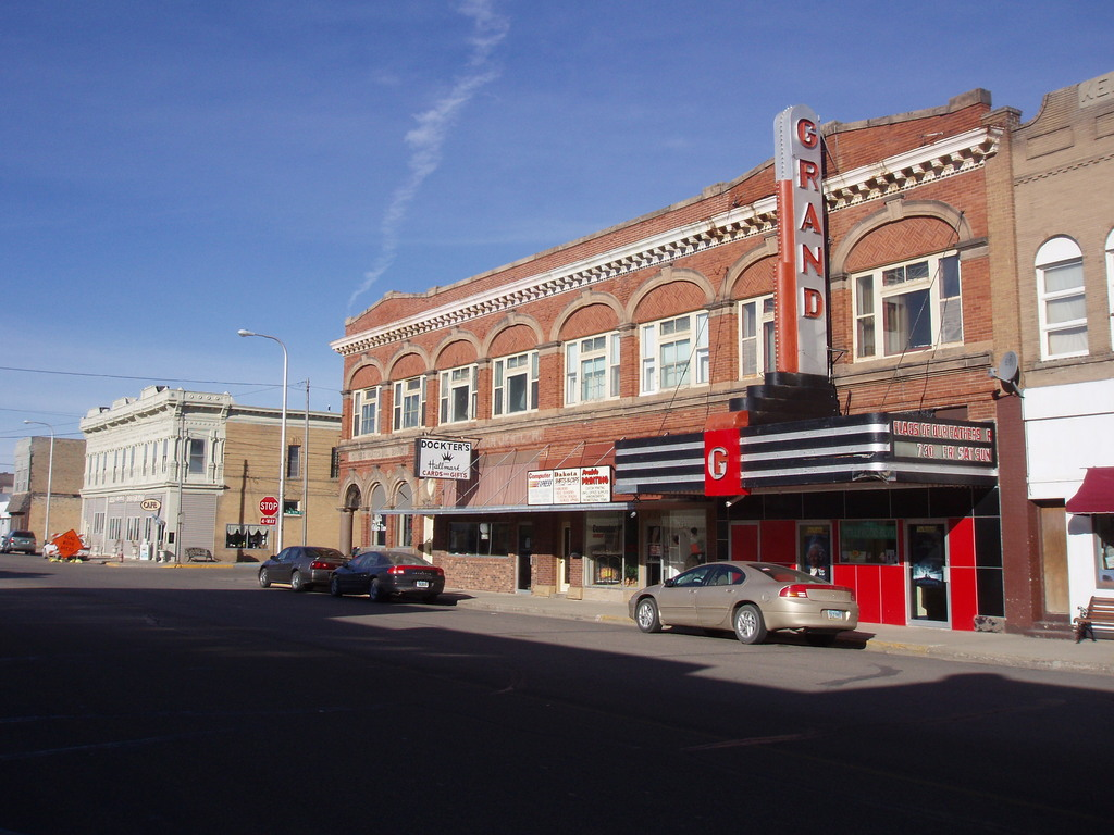 Oakes, ND: Grand Theatre and old bank building, downtown Oakes, ND