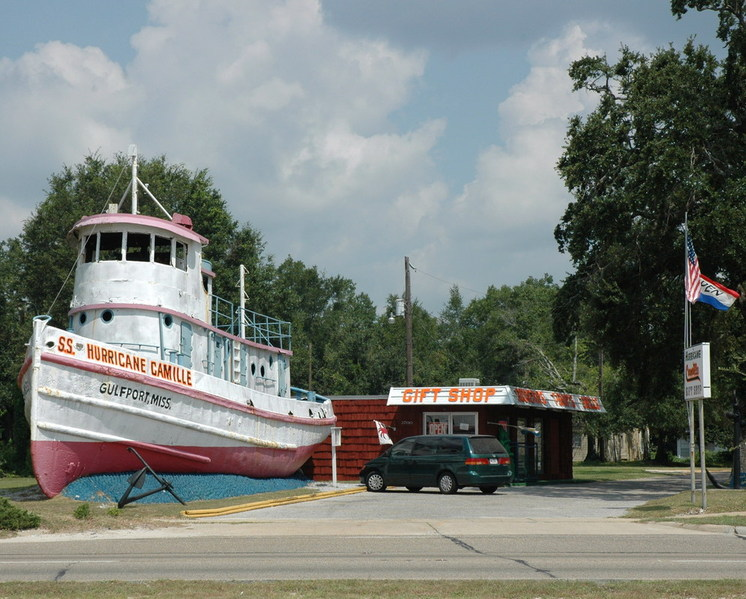 Gulfport, MS: SS Hurricane Camille gift shop. Washed up during what was believed to be as bad as it could get hurricane Camille. Gift shop was destroyed by Katrina but the tug is still there.