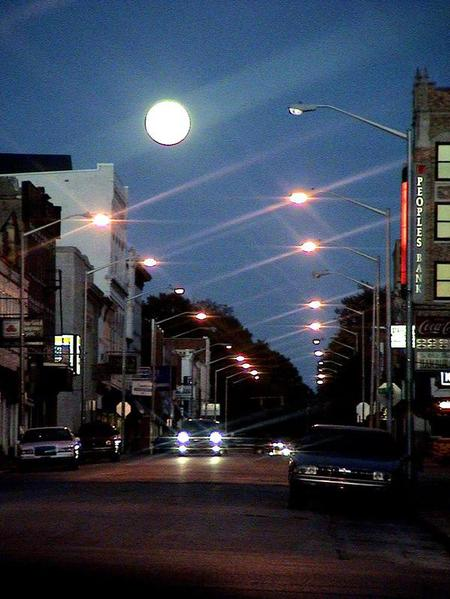 Washington, IN : Harvest Moon over Main Street