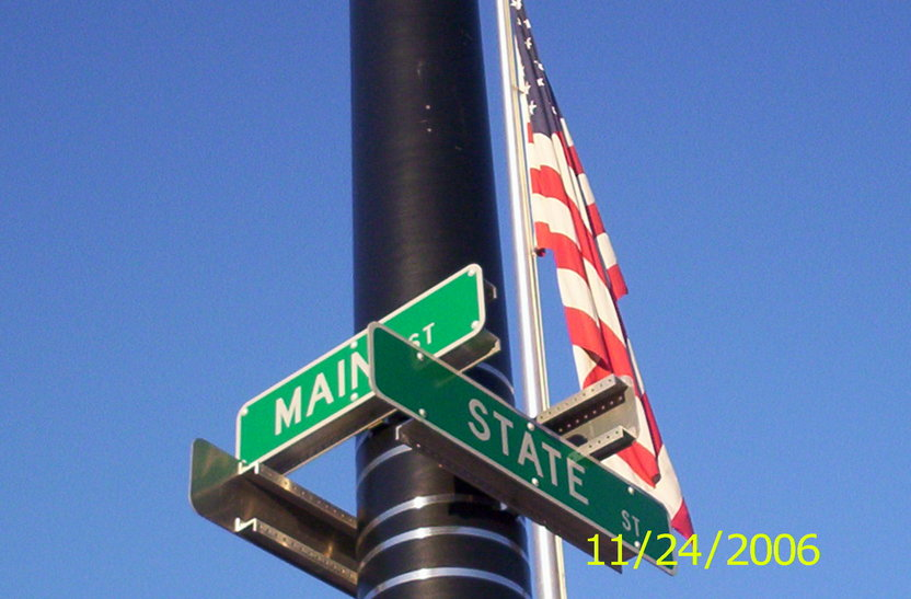Mount Morris, NY: State Street @ Main Street in Mount Morris in front of the Bellamy Memorial Flag