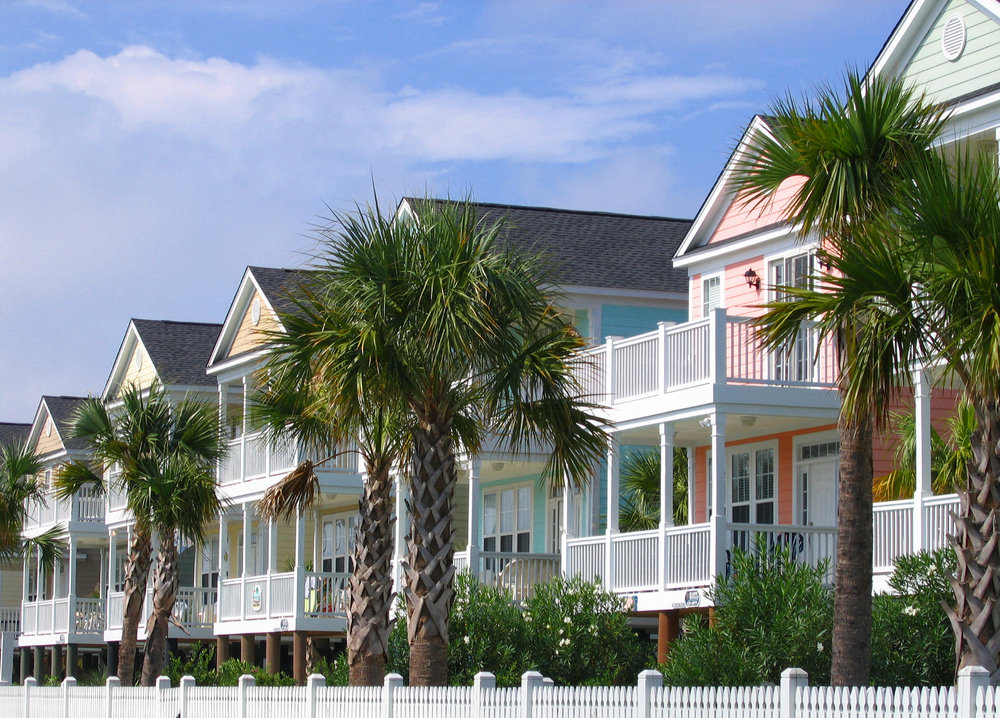 Surfside Beach, SC : A row of Pretty Houses in Surf Side Beach SC