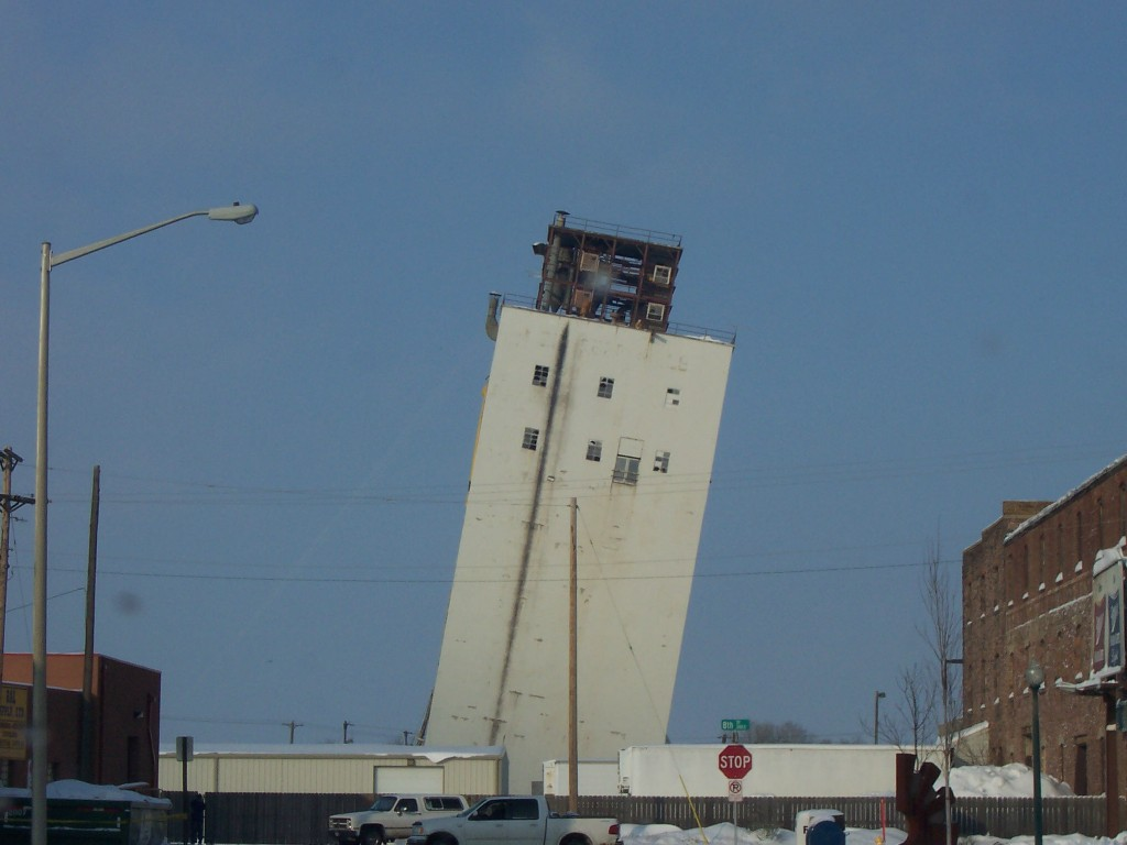 Sioux Falls, SD: A failed attempt to bring down the Zip Feed Mill in Sioux Falls. Everything went according to plan, except nobody told the Zip it was suppost to collapse!