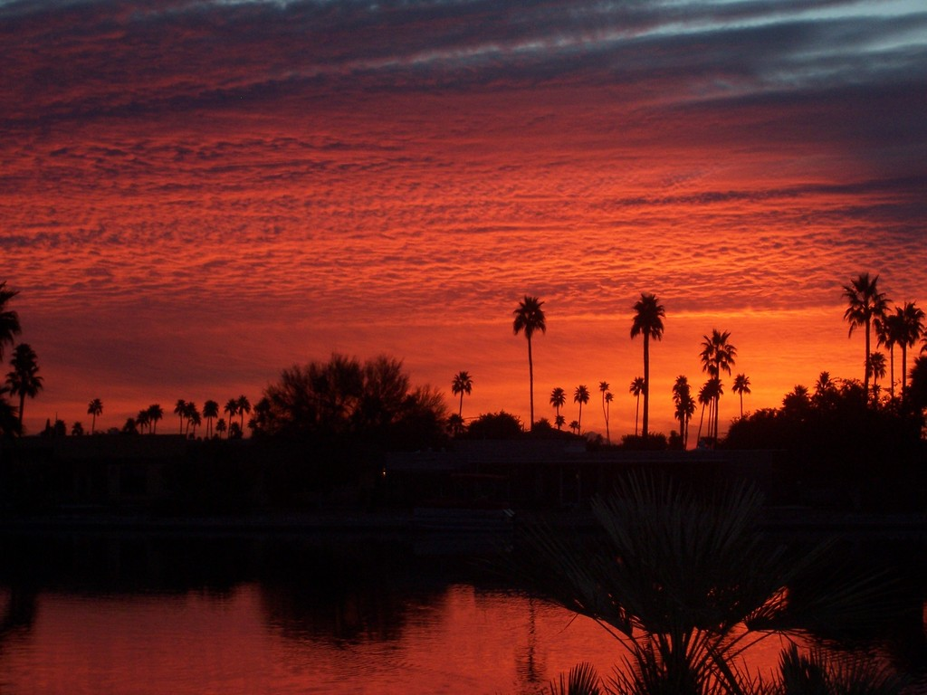 Sun City, AZ: Sunset Over Dawn Lake, Sun City, AZ