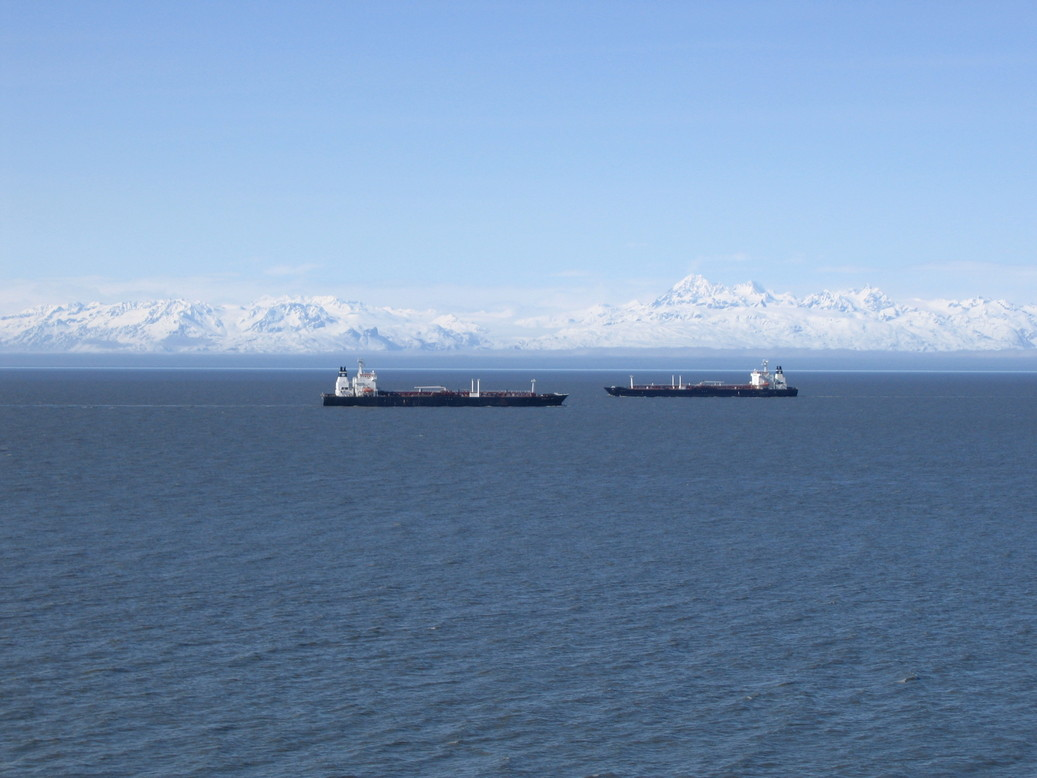 Kenai, AK : Two passing ships in Cook Inlet