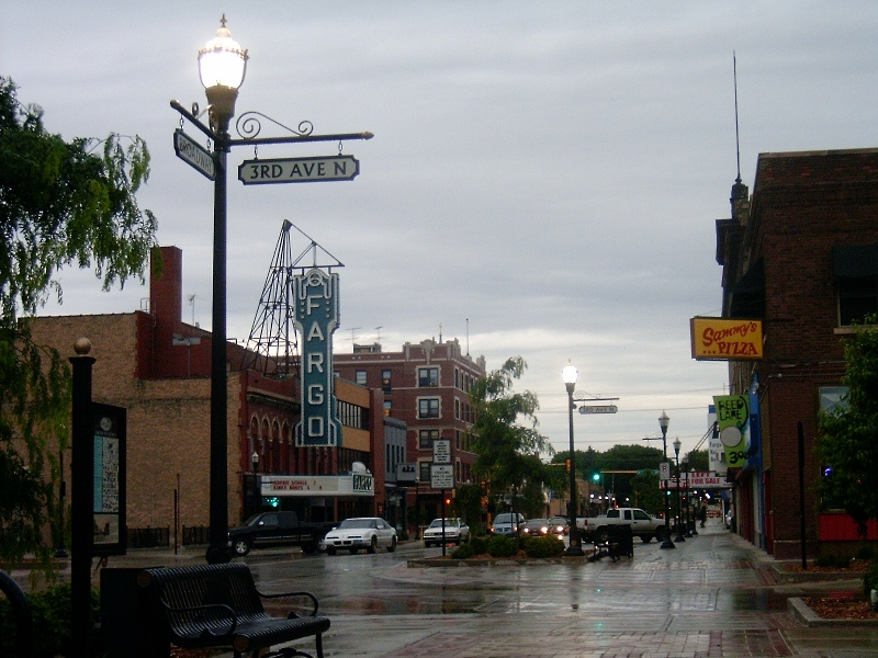 Fargo, ND: Fargo, North Dakota: Broadway and 3rd Avenue N, with the historic Fargo Theatre in the background