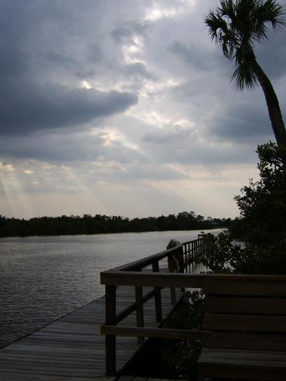 Stuart, FL : The sun peeks through on a dock at South River condos.