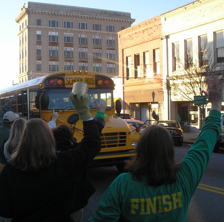 Dublin, GA : State championship football team being cheered downtown