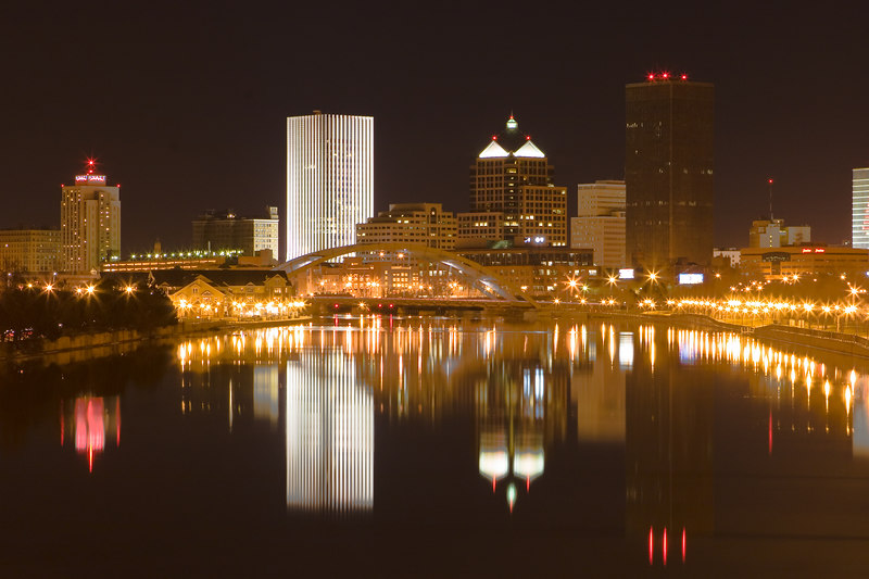 Rochester, NY: Downtown Rochester, NY at night.