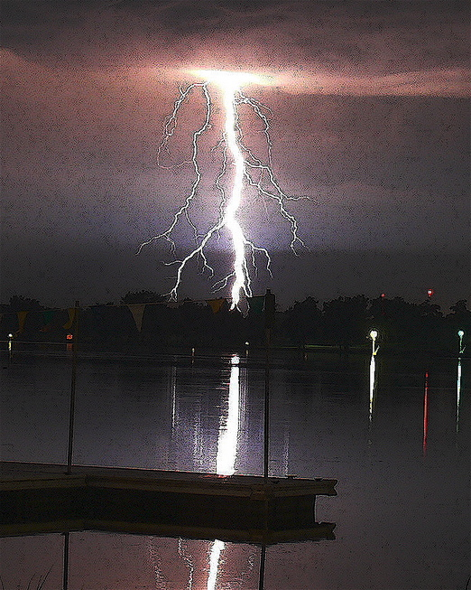 Winona Lake, IN: Lightning over Winona Lake no. 2