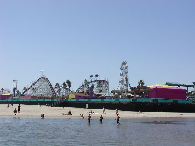 Santa Cruz, CA : A view of the Santa Cruz Boardwalk from the beach