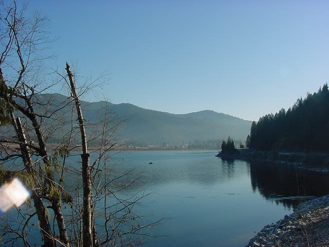 Priest River, ID : Daily View of Pend Oreille River with Priest River in background