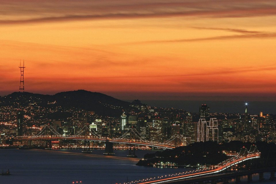 San Francisco, CA: An evening view of San Francisco from the Berkeley/Oakland hills, directly above the Caldecott Tunnel.