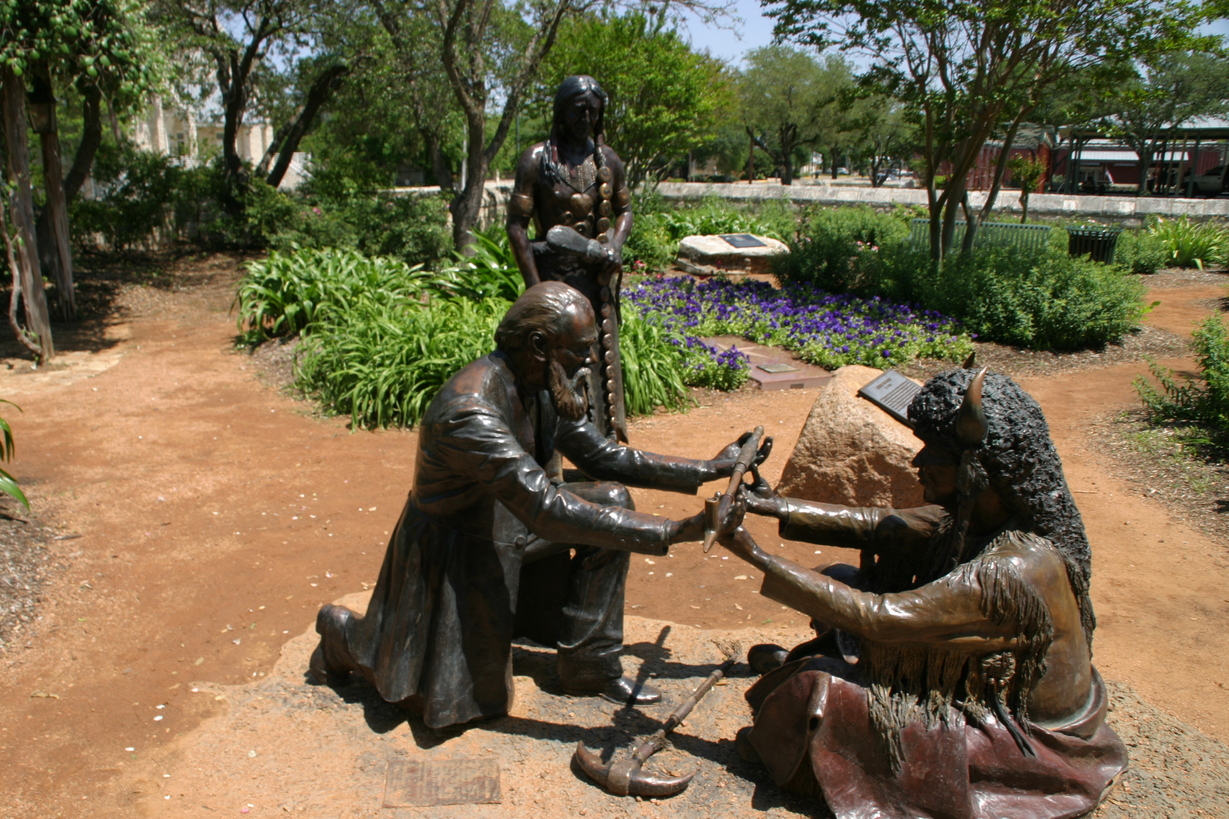 Fredericksburg, TX: Statue at Peace Garden, commemorating peace treaty between settler John Meusebach and the Comanche Indians, the only treaty to have never been broken.