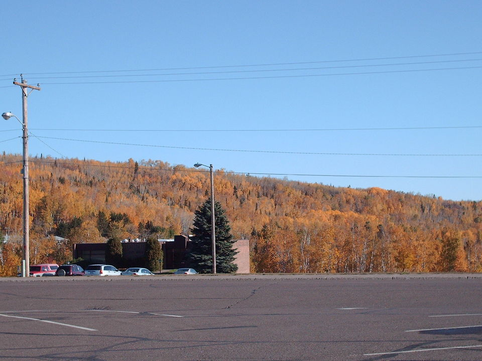 Silver Bay, MN : View of the town's hill side from the main parking lot of the town's shopping center in Silver Bay, MN.