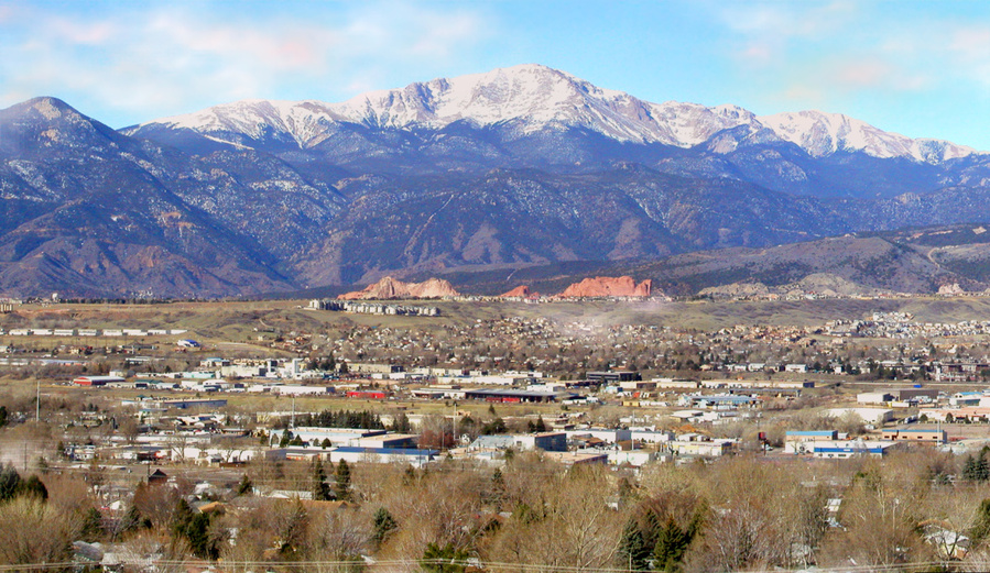 Colorado Springs, CO : Southwest view of Pikes Peak