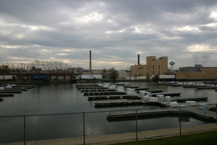 Menasha, WI: The Marina off of Main St showing paper mill, Menasha WI