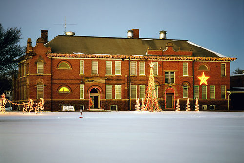 Chester, NE: Christmas Lights at the Chester School Building in 2007