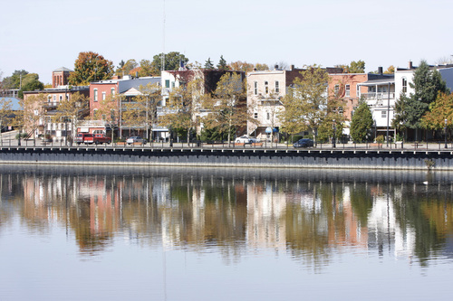Allegan, MI : downtown Allegan MI taken from embankment by Iron Bridge, Fall 2008