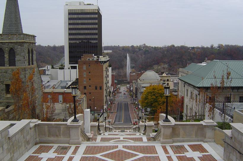 Lynchburg, VA: This photo is taken by the court house in downtown lynchburg. This picture is looking down to the James river where you can see the fountain that for some reason is always squirting out water at a high velocity.