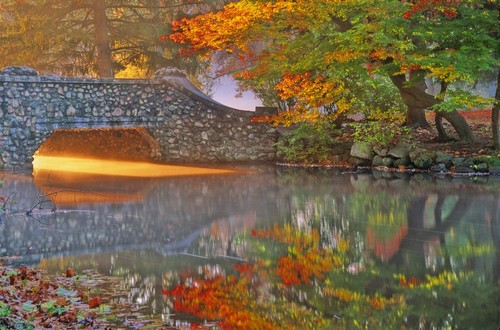 Kalamazoo, MI : Stone bridge at Milham Park