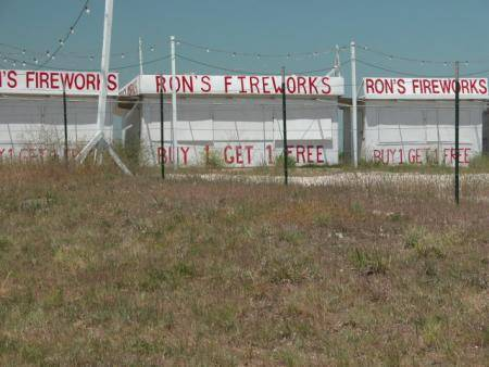 Roanoke, TX : Roadside fireworks stand, Roanoke, Texas