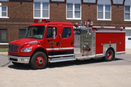 Ironton, MN: Ironton Pumper #1 in front of Ironton Fire Department
