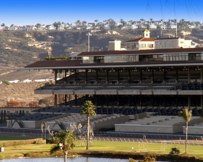 Del Mar, CA : Del Mar, California, is home to the Del Mar Racetrack. In 1938 the famous Seabiscuit-Ligaroti match occurred here. The track is located between I-5 (on the left) and the Pacific Ocean. Races run mid July through early September. Joe Bellavia.