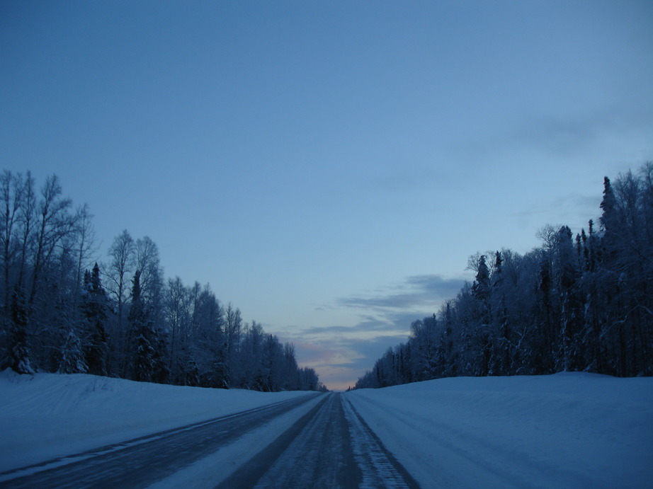 Talkeetna, AK: Road Leading Out Of Town taken 2-20-2009