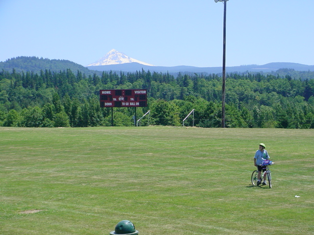 Corbett, OR: A view of Mt. Hood from the Corbett football field