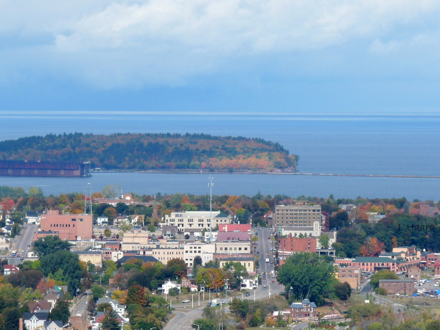 Marquette, MI: Looking at Marquette Michigan and Presque Isle from Mount Marquette