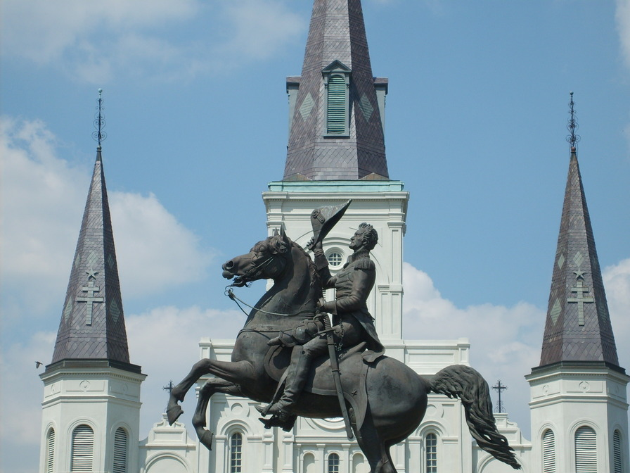 New Orleans, LA: Andrew Jackson's statue with St. Louis Cathedral in the background