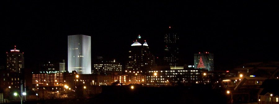 Rochester, NY : Skyline at Night with Troup Howell Bridge