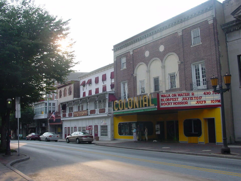 "Phoenixville, PA: Colonial Theater with ""blobfest"" marquee"