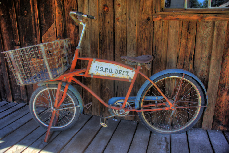 Aztec, NM : Post office bike at the Aztec Museum