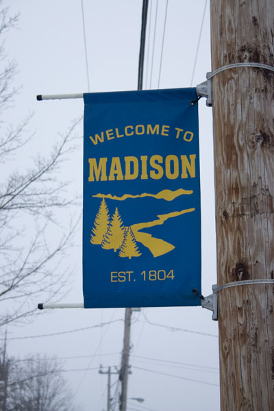 Madison, ME : A banner from the town.