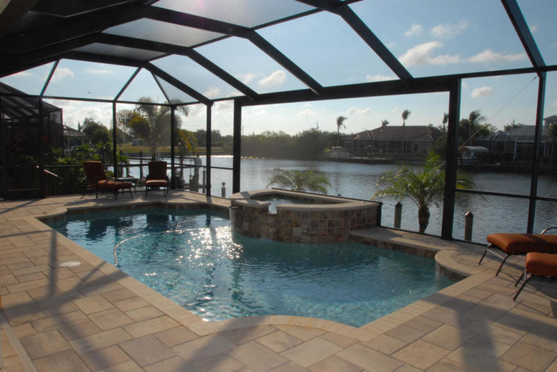 Cape Coral Fl Pool And Lanai Canal View Photo Picture