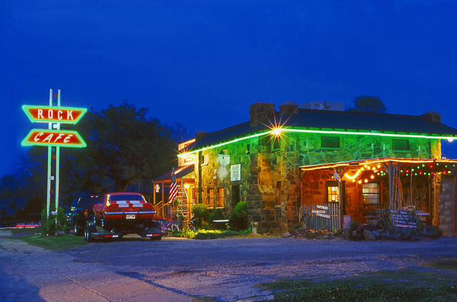 Stroud, OK: The famous Rock Cafe at night.