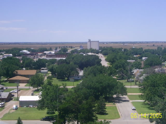 Kiowa Ks Looking West Over The City At Harvest Time