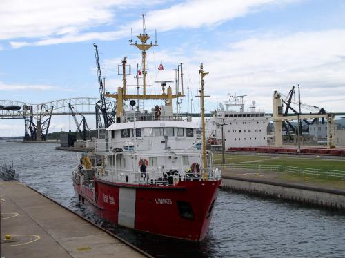 Sault Ste. Marie, MI : A ship passes through the locks on the St. Marys River