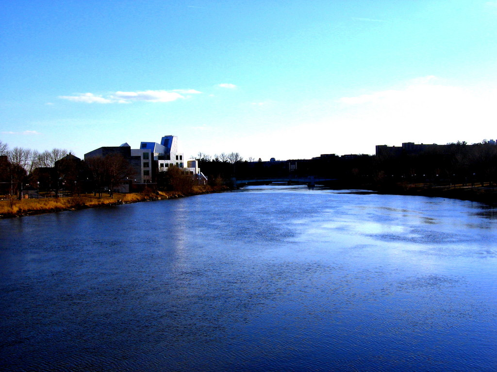 Iowa City, IA: beautiful view overlooking the Iowa river and campus of the University of Iowa.